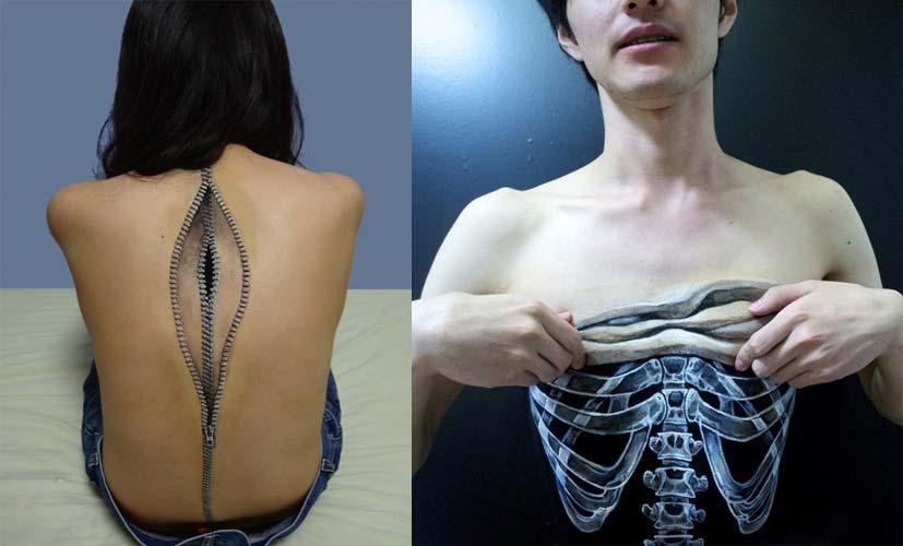 Body paintings hyperréalistes par Hikaru Cho